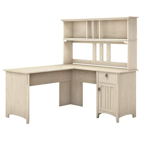 The Curated Nomad Ermine 60-inch L-shaped Desk with Hutch in Antique White