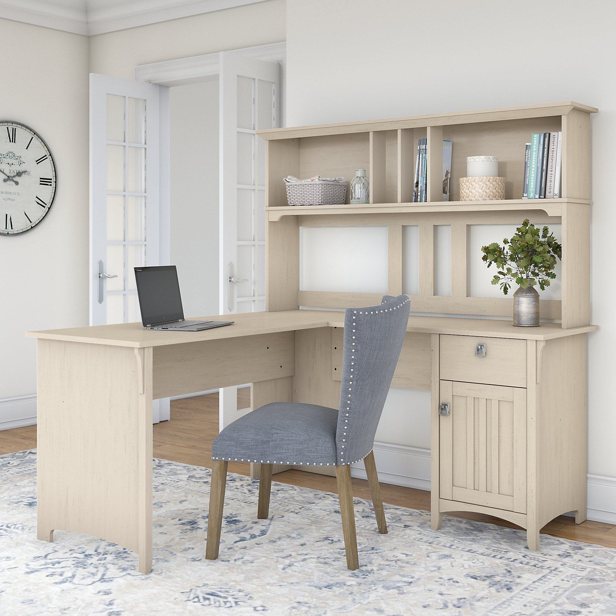 The Gray Barn Ermine 60 Inch L Shaped Desk With Hutch In Antique White
