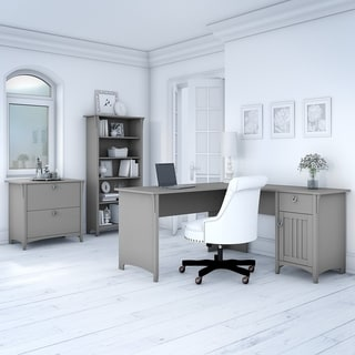 The Gray Barn Lowbridge Cape Cod Grey L-shaped Desk with Lateral File Cabinet and 5-shelf Bookcase