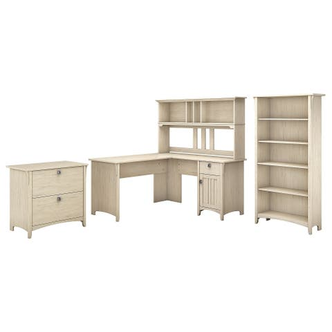 The Curated Nomad Ermine 60-inch L-shaped Desk Office Suite in Antique White
