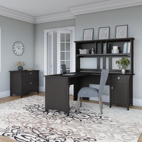 The Gray Barn Lowbridge 60-inch L-shaped Desk with Hutch and Lateral File Cabinet in Black