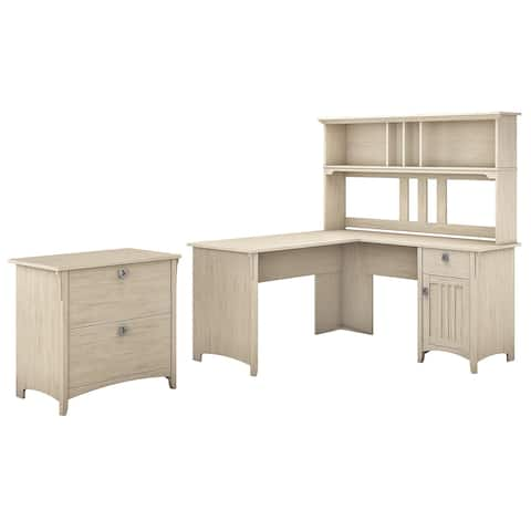 The Curated Nomad Ermine 60-inch L-shaped Desk with Hutch and Lateral File Cabinet in White
