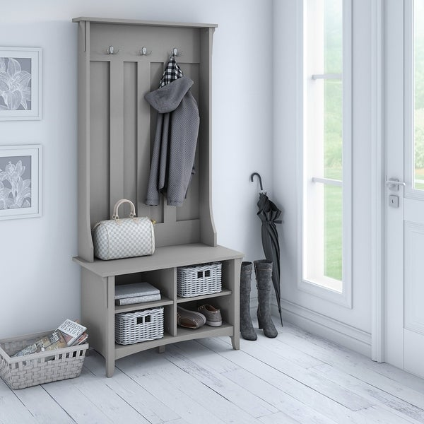 The Gray Barn Lowbridge Cape Cod Grey Hall Tree With Storage Bench by The Gray Barn