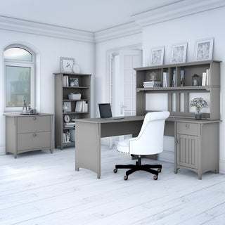 Bush Furniture Salinas 60W L Shaped Desk Office Suite in Cape Cod Gray