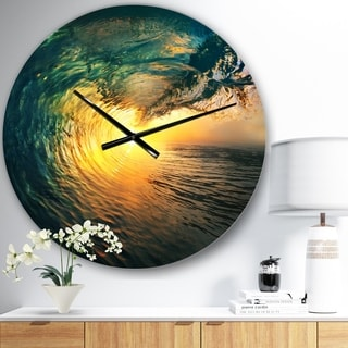Designart 'Colored Ocean Waves Falling Down VI' Modern Seashore Wall CLock