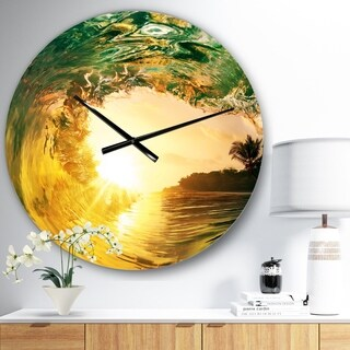 Designart 'Colored Ocean Waves Falling Down IV' Modern Seashore Wall CLock