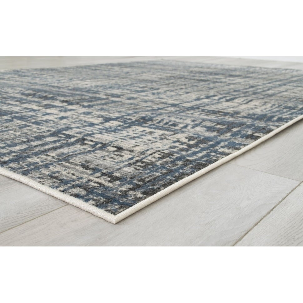Allstar Rugs Charcoal Grey And Ivory Rectangular Accent Area Rug With Slate Blue Abstract Intersecting Line Design 7 6 X9 8 Overstock 26263324