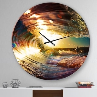 Designart 'Colored Ocean Waves Falling Down III' Modern Seashore Wall CLock