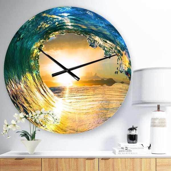 Designart 'Colored Ocean Waves Falling Down II' Modern Seashore Wall CLock
