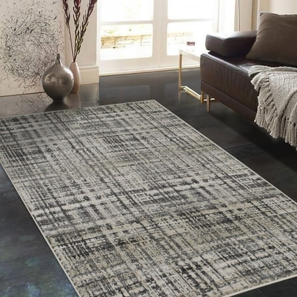 """Allstar Rugs Ivory and Cream Rectangular Accent Area Rug with Charcoal Grey Abstract Intersecting Line Design - 4' 11"""" x 7' 0"""""""