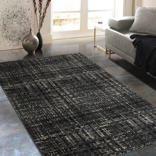 """Allstar Rugs Charcoal Grey and Black Rectangular Accent Area Rug with Ivory Abstract Intersecting Line Design - 4' 11"""" x 7' 0"""""""