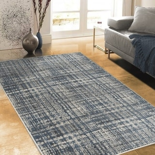 Allstar Rugs Charcoal Grey and Ivory Rectangular Accent Area Rug with Slate Blue Abstract Intersecting Line Design