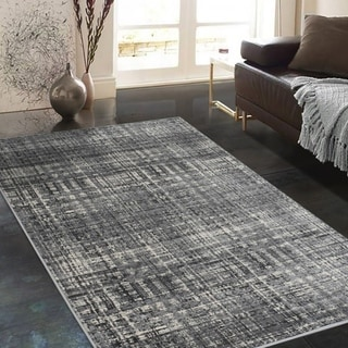 Allstar Rugs Gainsboro Grey and Ivory Rectangular Accent Area Rug with Charcoal Grey Abstract Intersecting Line Design