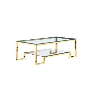 Laurence Coffee Table Long in High Polish Gold