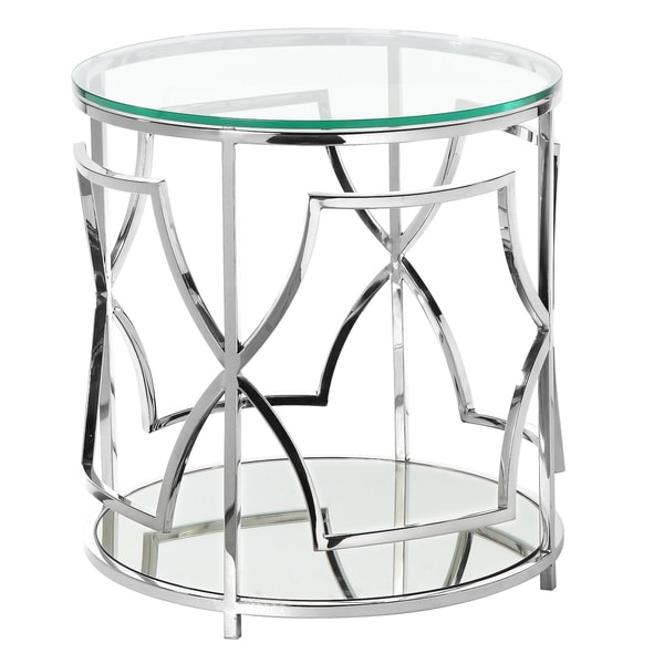 Silver Orchid Bateman Round High Polish Steel Side Table