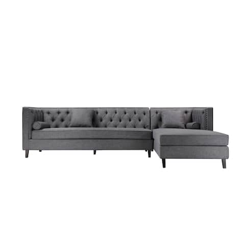 Malcolm Sectional Right-Arm-Facing in Grey Fabric