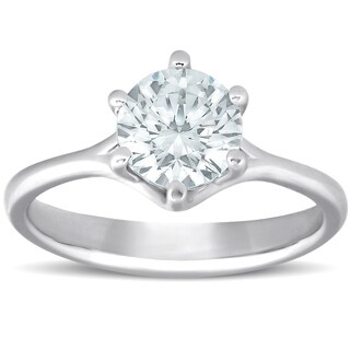 Bliss 14k White Gold 1 Ct TDW Solitaire Diamond Engagement Ring Six Prong Clarity Enhanced