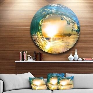 Designart 'Colored Ocean Waves Falling Down II' Modern Seashore Round Circle Metal Wall Decor Panel