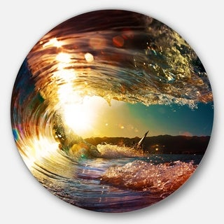 Designart 'Colored Ocean Waves Falling Down III' Modern Seashore Round Circle Metal Wall Decor Panel