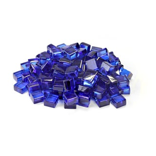 "Cobalt Blue 1/2"" Reflective Fireglass Cubes - 10 lb bag"