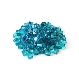 "Azuria Blue 1/2"" Reflective Fireglass Cubes - 10 lb bag"