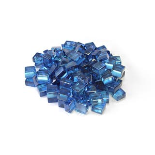 "Pacific Blue 1/2"" Reflective Fireglass Cubes - 10 lb bag"