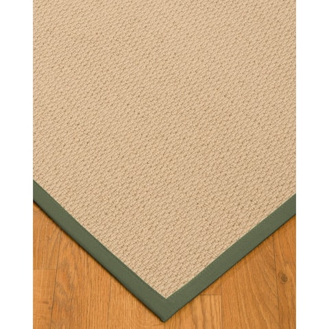 Natural Area Rugs 100%, Natural Fiber Handmade Cassel, Pinkish Beige Wool Rug, Green Border - 2' x 3'