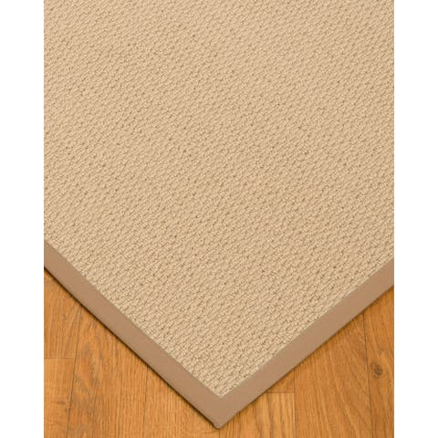 "Natural Area Rugs 100%, Natural Fiber Handmade Cassel, Pinkish Beige Wool Rug, Wheat Border - 2'6"" x 8'"