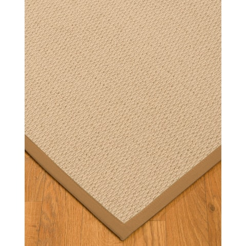 Natural Area Rugs 100%, Natural Fiber Handmade Cassel, Pinkish Beige Wool Rug, Doe Border - 6' x 9'