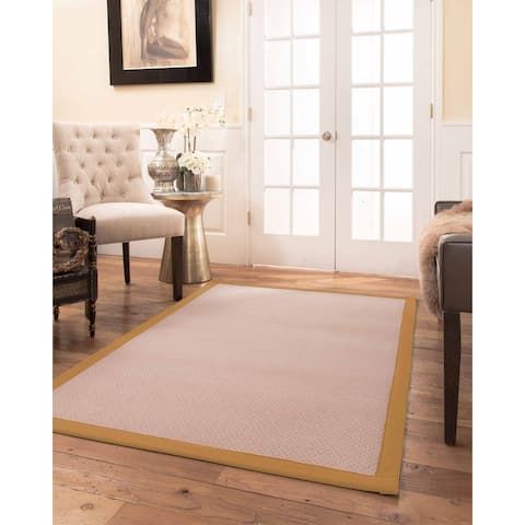 Natural Area Rugs 100%, Natural Fiber Handmade Eloise, Pink Wool Rug, Khaki Border - 2' x 3'