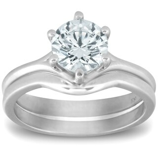 Bliss 14k White Gold 1 ct TDW Diamond Solitaire Engagement Wedding Matching Ring Set Clarity Enhanced