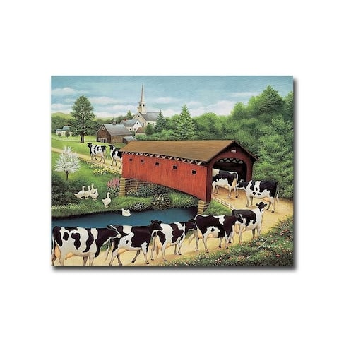 Cows in West Arlington by Lowell Herrero Gallery Wrapped Canvas Giclee Art (22 in x 28 in, Ready to Hang)