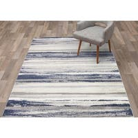"Concord Global Charlotte Retro Blue Area Rug - 6'7"" x 9'3"""