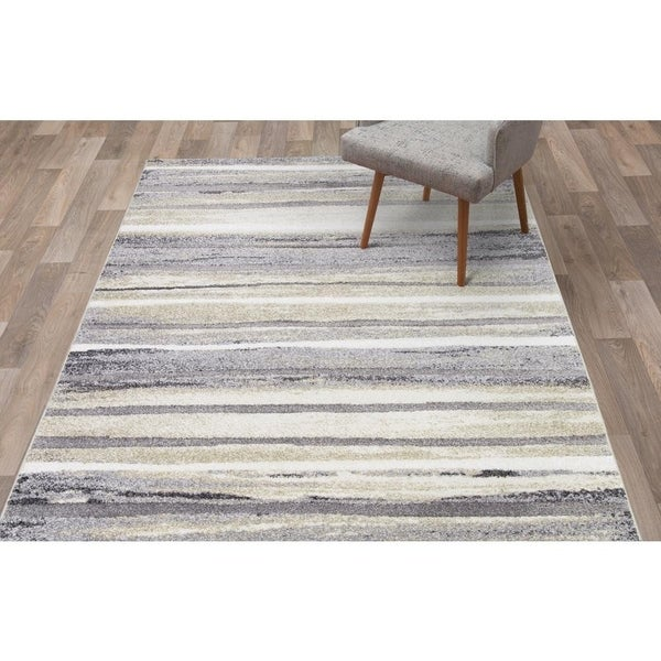 "Concord Global Charlotte Retro Ivory Area Rug - 5'3"" x 7'3"""