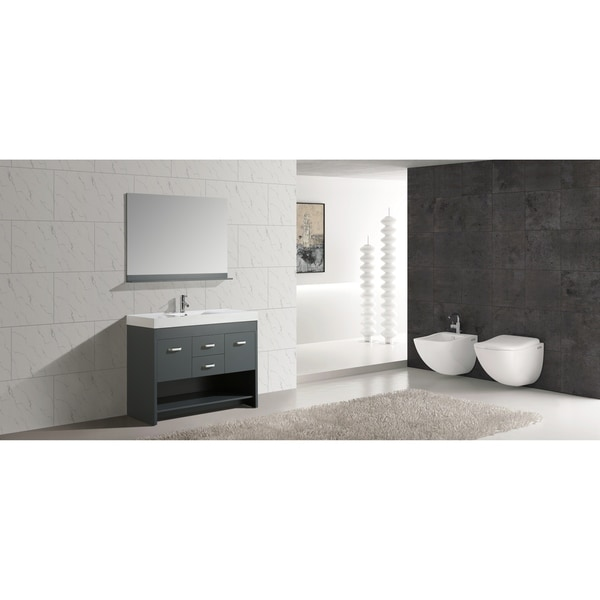 "Design Element Citrus 48"" Single Sink Vanity Set in Gray"