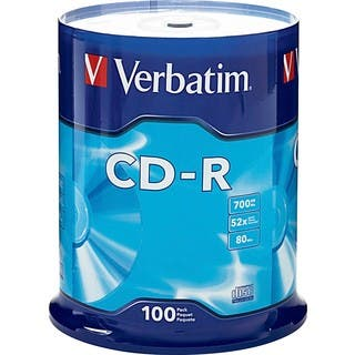 Verbatim CD-R 700MB 52X with Branded Surface - 100pk Spindle|https://ak1.ostkcdn.com/images/products/2626468/Verbatim-94554-CD-Recordable-Media-CD-R-52x-700-MB-100-Pack-S-P10831448.jpg?impolicy=medium