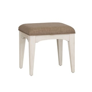 Bayside Wire Brushed Antique White Vanity Stool