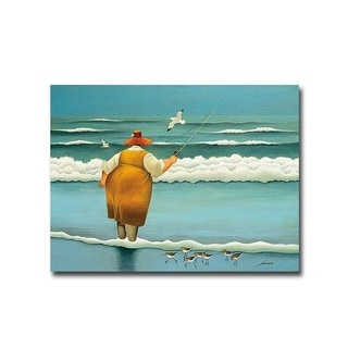 Surfside Fishing by Lowell Herrero Gallery Wrapped Canvas Giclee Art (18 in x 24 in, Ready to Hang)