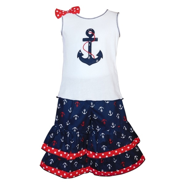 067fa042650a4 AnnLoren Girls 4th of July Nautical Sailor Outfit
