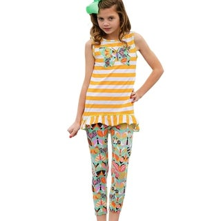 Annloren Girls Butterfly & Stripes Yellow High Low Tunic and Leggings