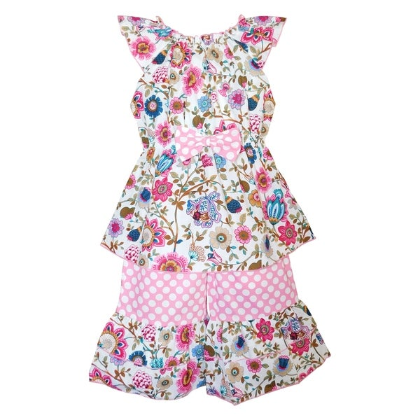 46d21c20f Shop Annloren Girls Pink Spring Floral Tunic & Capri Outfit - On ...