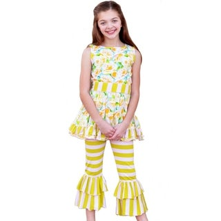 Annloren Girls Shabby Floral Dress and Capri Outfit