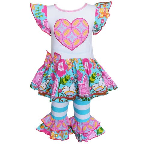 Annloren Girls Colorful Lovey Tunic and Capris Set