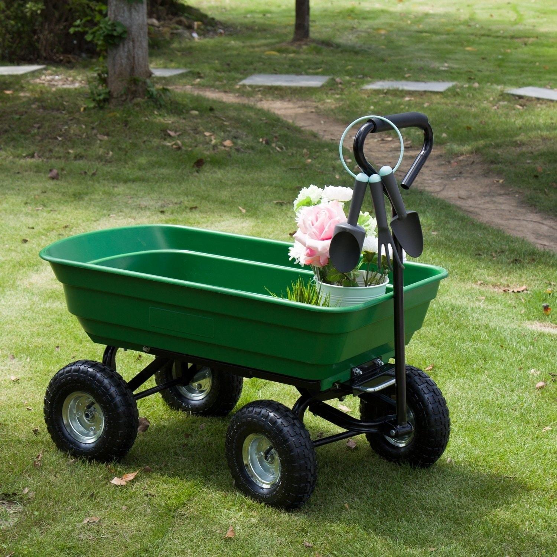 Kinbor 600lb Garden Dump Cart Utility Garden Wagon w/ Pneumatic Tires