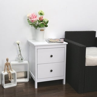 Kinbor Nightstand Wood Accent Table Side End Table For Bedroom Living Room w/ 2 Storage Drawers