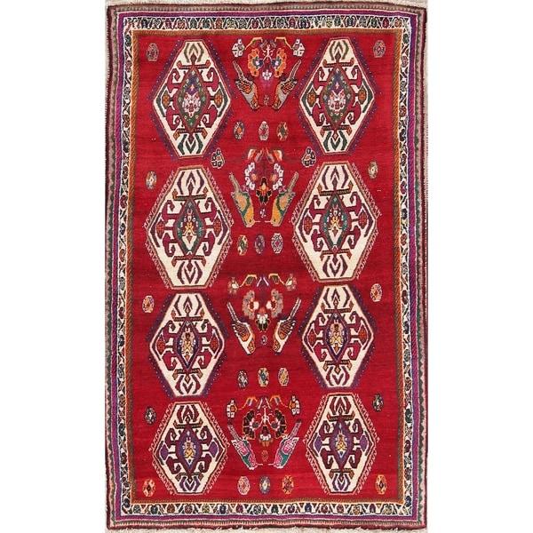 "Hand Made Traditional Geometric Shiraz Ghashghaei Persian Area Rug - 7'6"" x 4'7"""