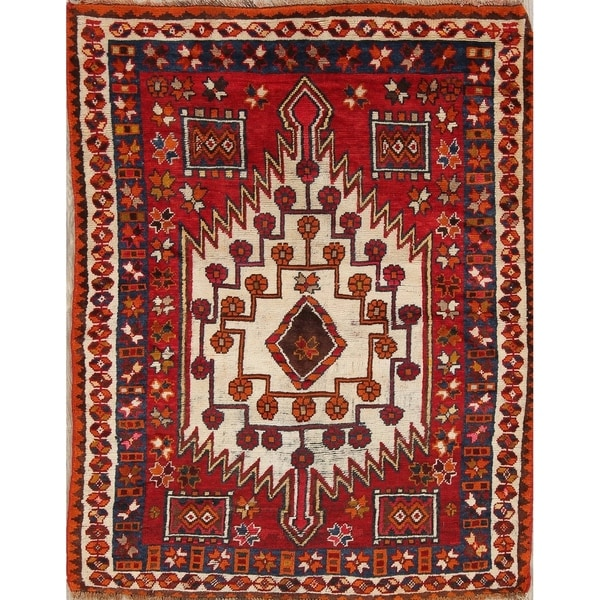 "Antique Kazak Russian Oriental Hand Knotted Traditional Area Rug - 5'4"" x 4'4"""