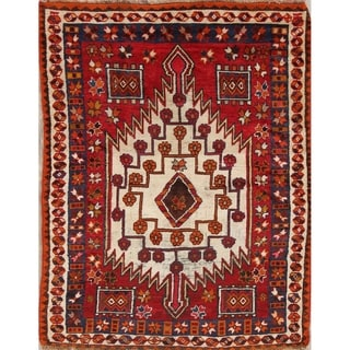 """Antique Kazak Russian Oriental Hand Knotted Traditional Area Rug - 5'4"""" x 4'4"""""""