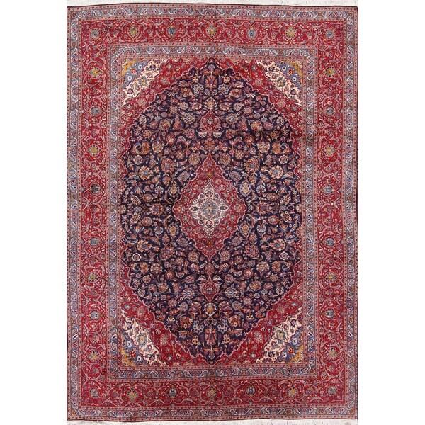 "Handmade Vintage Kashan Traditional Persian Medallion Area Rug Blue - 14'11"" x 9'9"""