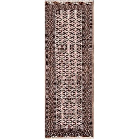 "Hand Made Wool Turkoman Bokhara Persian Rug Geometric - 9'3"" x 3'4"" runner"
